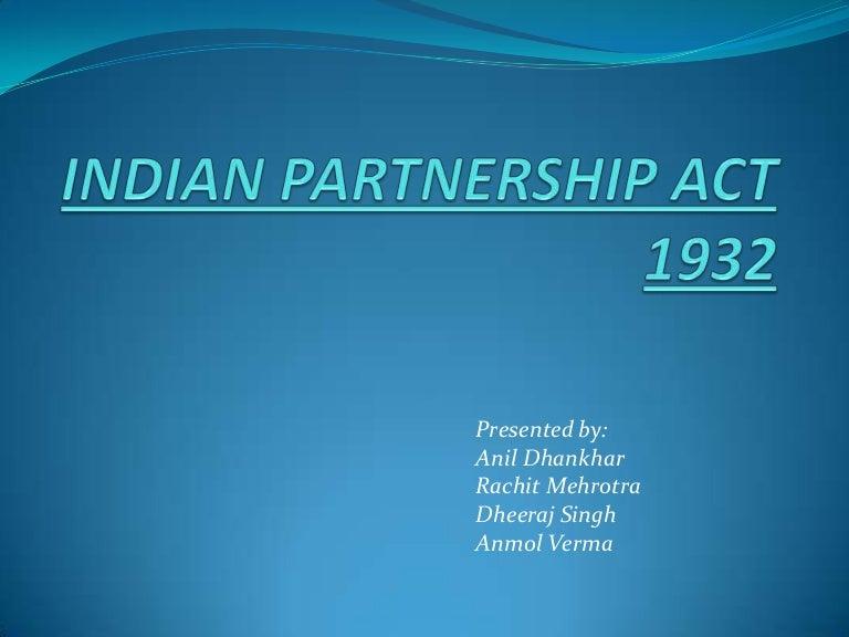 Indian Partnership Act 1932 Pdf