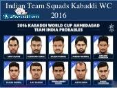 Indian Team Squads Kabaddi WC 2016