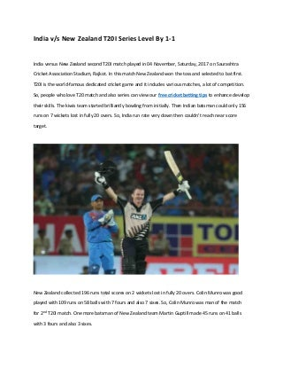 India versus new zealand t20 i series level by 1 1