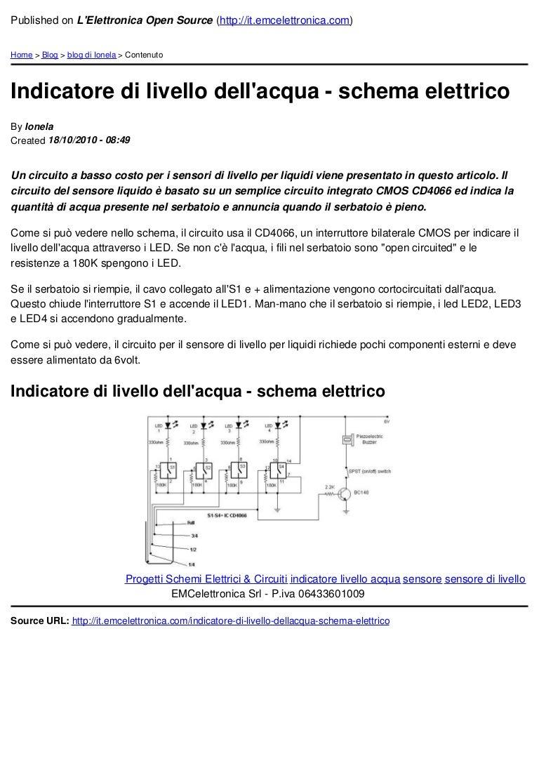 Schemi Elettrici Di Circuiti : Indicatore di livello dellacqua schema elettrico 2010 10 18
