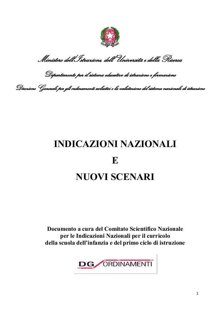 Indicazioni Nazionali E Nuovi Scenari