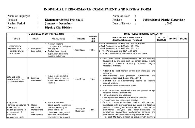 individual performance commitment and review form