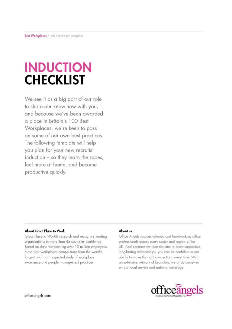Induction checklist To plan your next induction – Induction Checklist Template