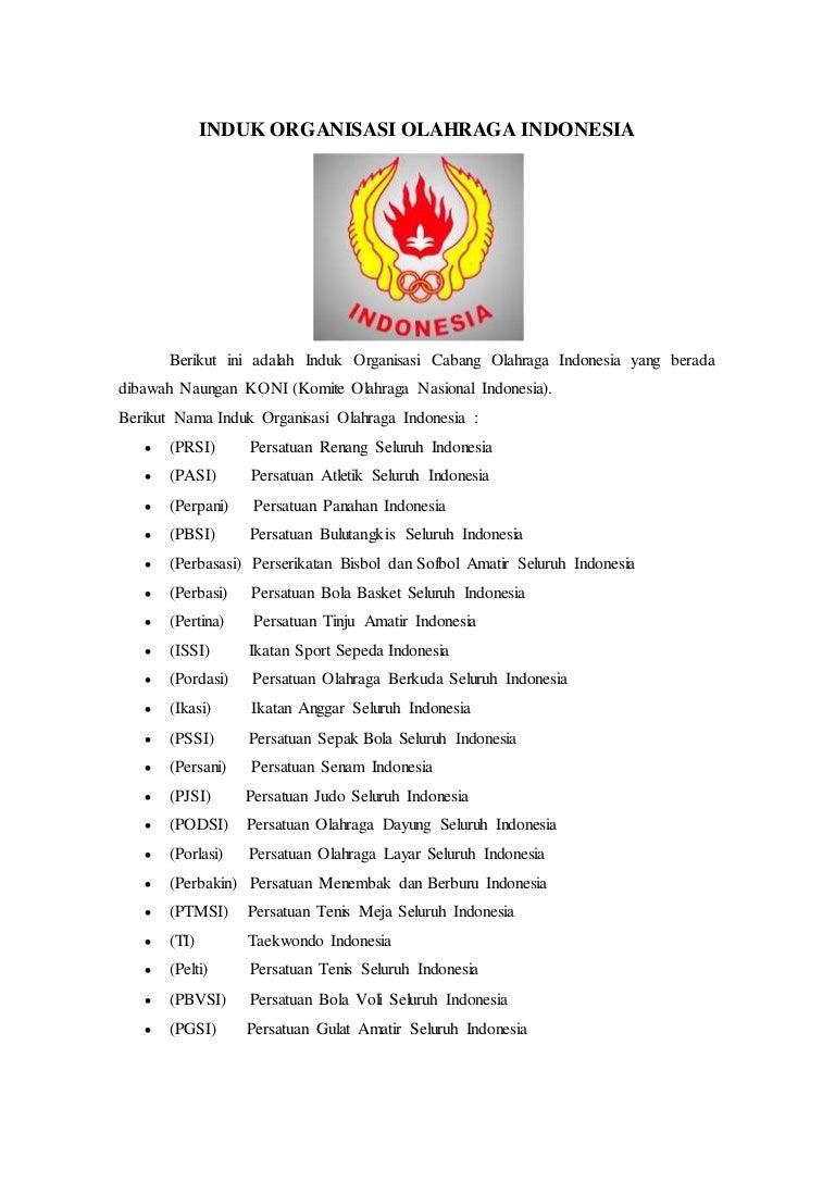 Induk Organisasi Olahraga Indonesia Dan Benua Di Dunia