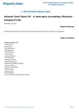 Industria Carnii Barsa SA ' in bankruptcy proceedings (Romania) - Company Profile