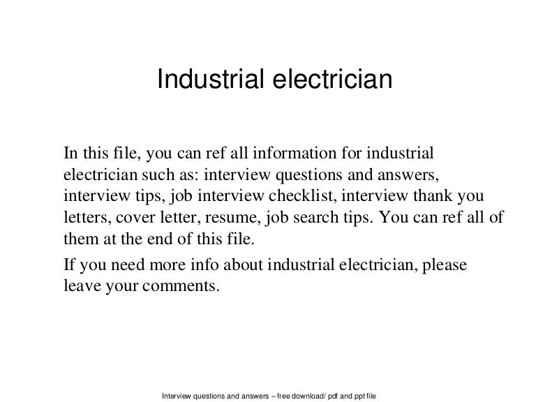industrialelectrician 140702050143 phpapp01 thumbnail 4jpgcb1404277336. Resume Example. Resume CV Cover Letter