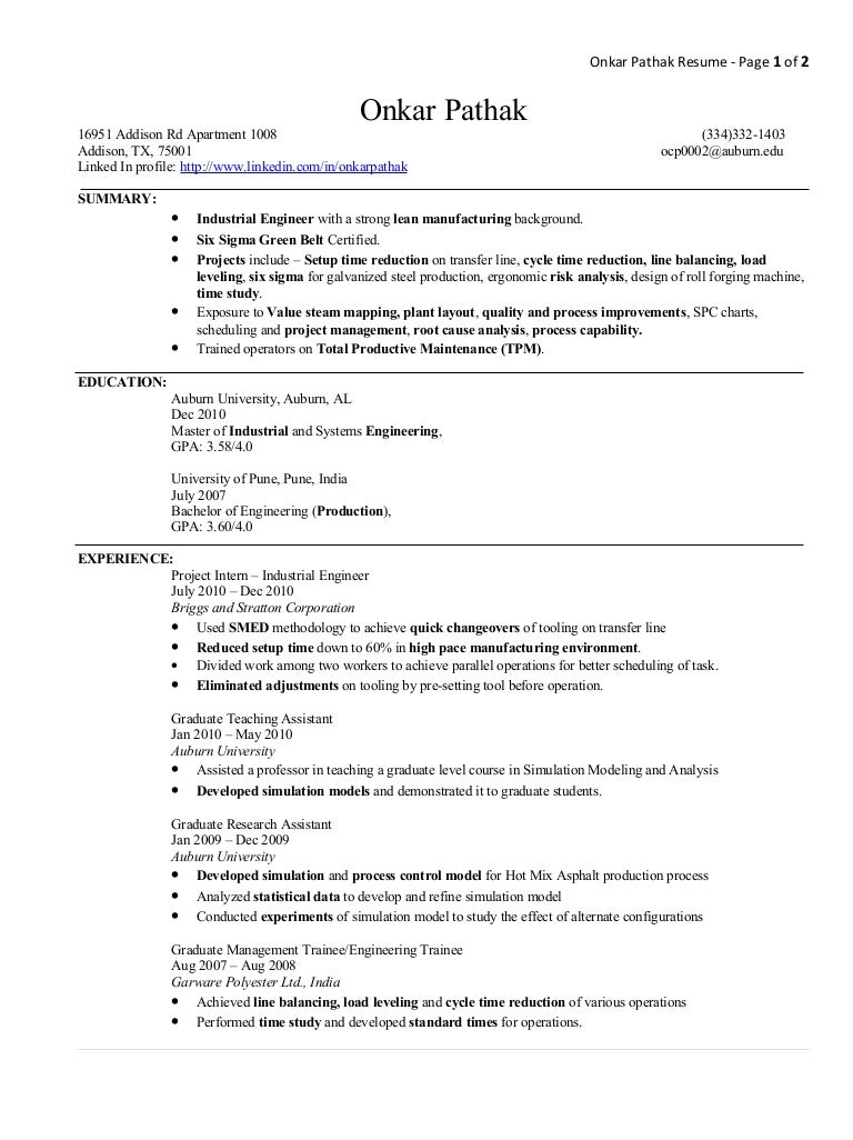 Operations Engineer Resume