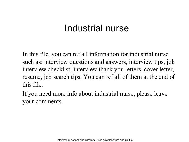sample resume for industrial nurses - Template