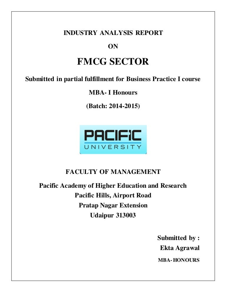 Industrial report on fmcg industry