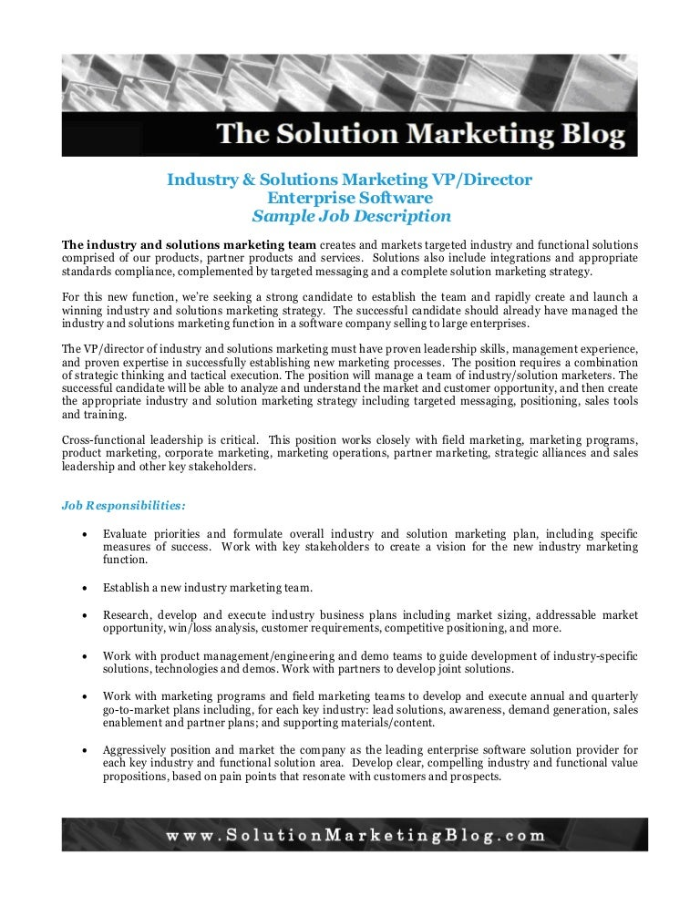 Industry And Solution Marketing Job Description