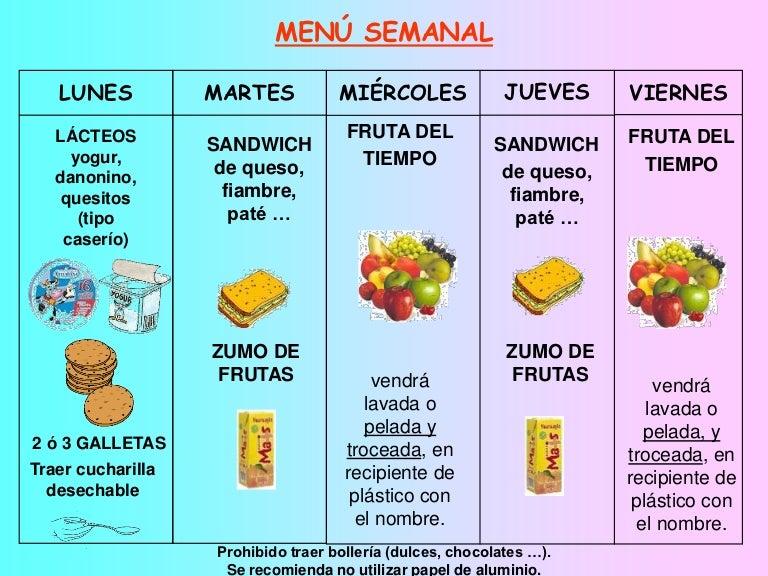 Men del recreo for Menu para comida familiar