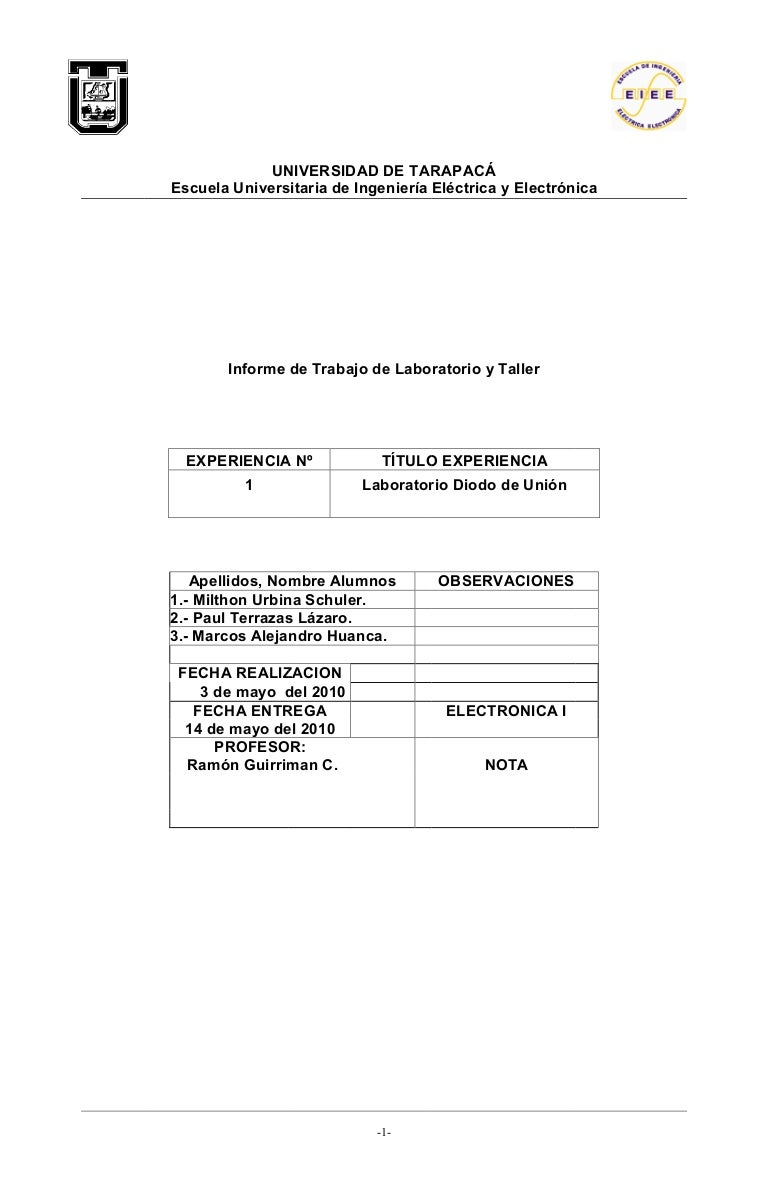 Informe 1 Electronica I Laboratorio