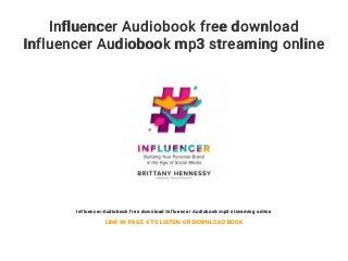 Influencer Audiobook free download Influencer Audiobook mp3 streaming online