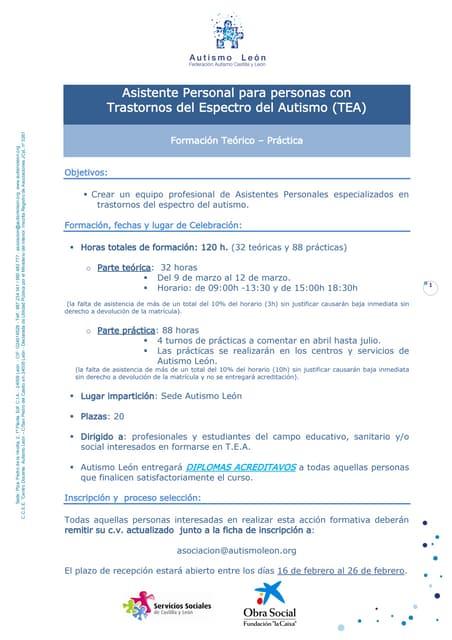 Curso Asistente personal para personas con Trastornos del Espectro Autista en León