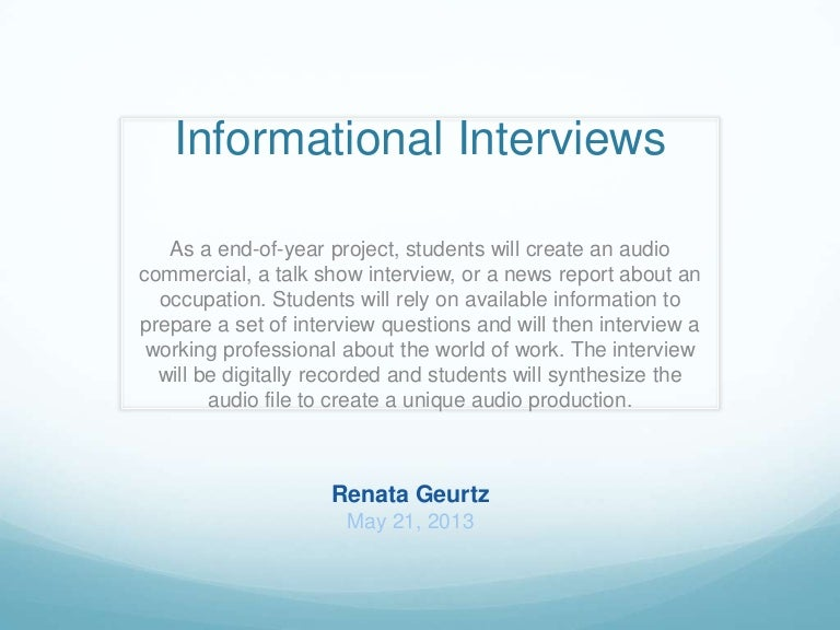 Informational interview lesson plan