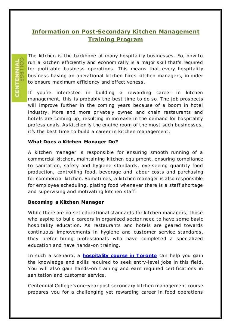 Information on post secondary kitchen management training program
