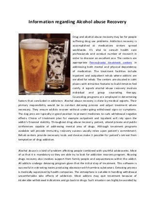 Information regarding alcohol abuse recovery