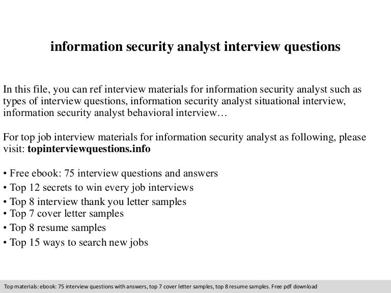 information security analyst interview questions - Information Security Resume