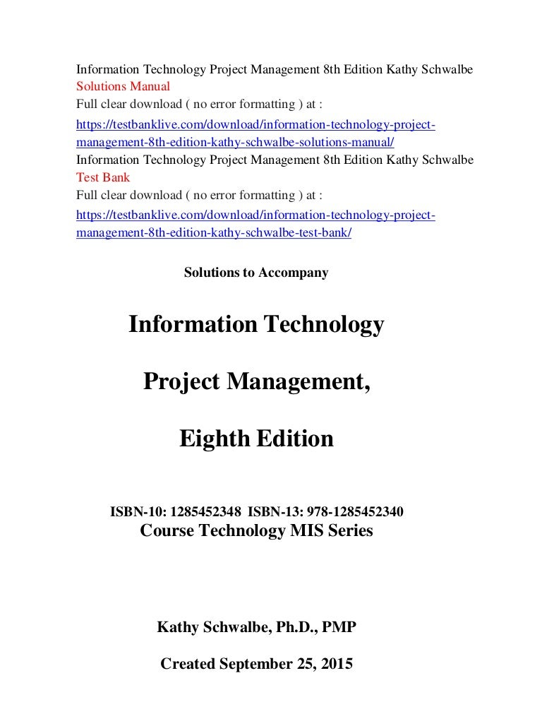 Information technology project management 8th edition kathy schwalbe ….