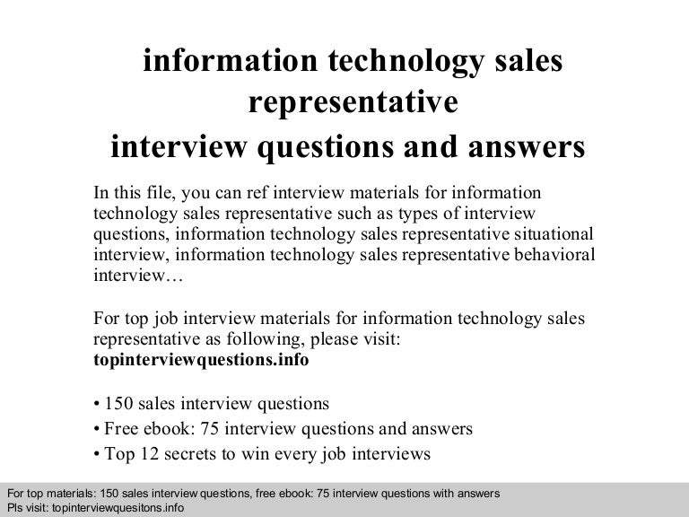 Information technology sales representative interview questions and a…