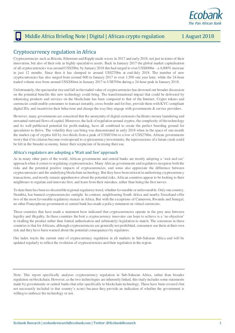 Cryptocurrency regulation in Africa  Report   Ecobank