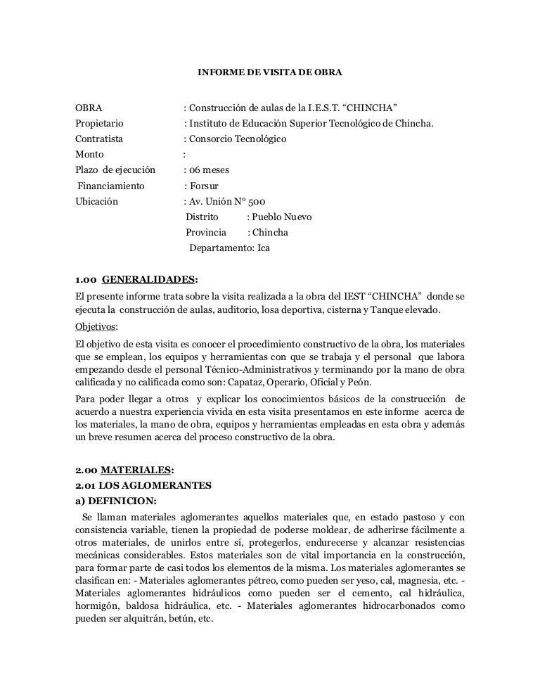 Informe de vicita de obra istch for Planos mobiliario escolar peru