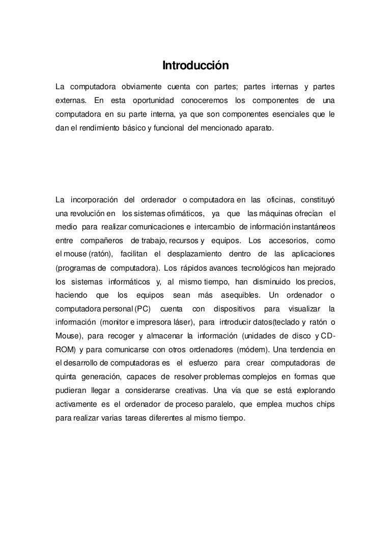 Informe partes internas y externas de la computadora fg