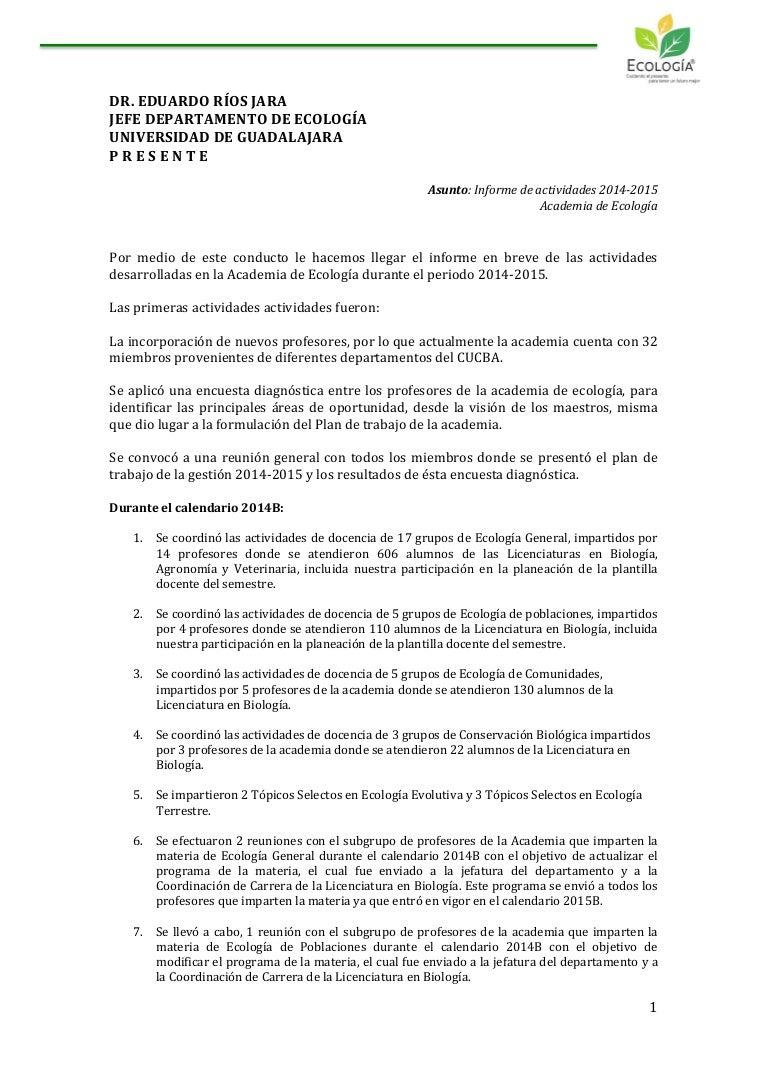 Informe academia de Ecología 2014 2015