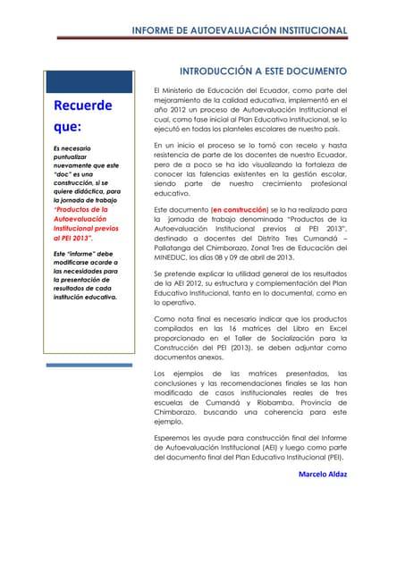Informe de Autoevaluación Institucional 2012