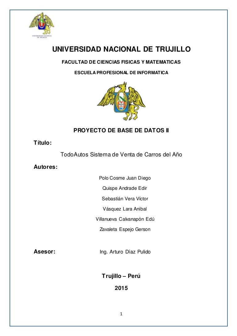 Informe v2.1 Base de Datos II - Proyecto TodoAutos : venta de carros…
