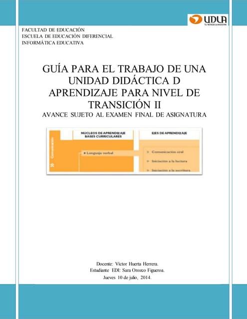 Informe completo unidad didáctica lenguaje verbal bcep