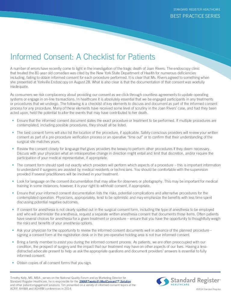 Informed Consent: A Checklist For Patients