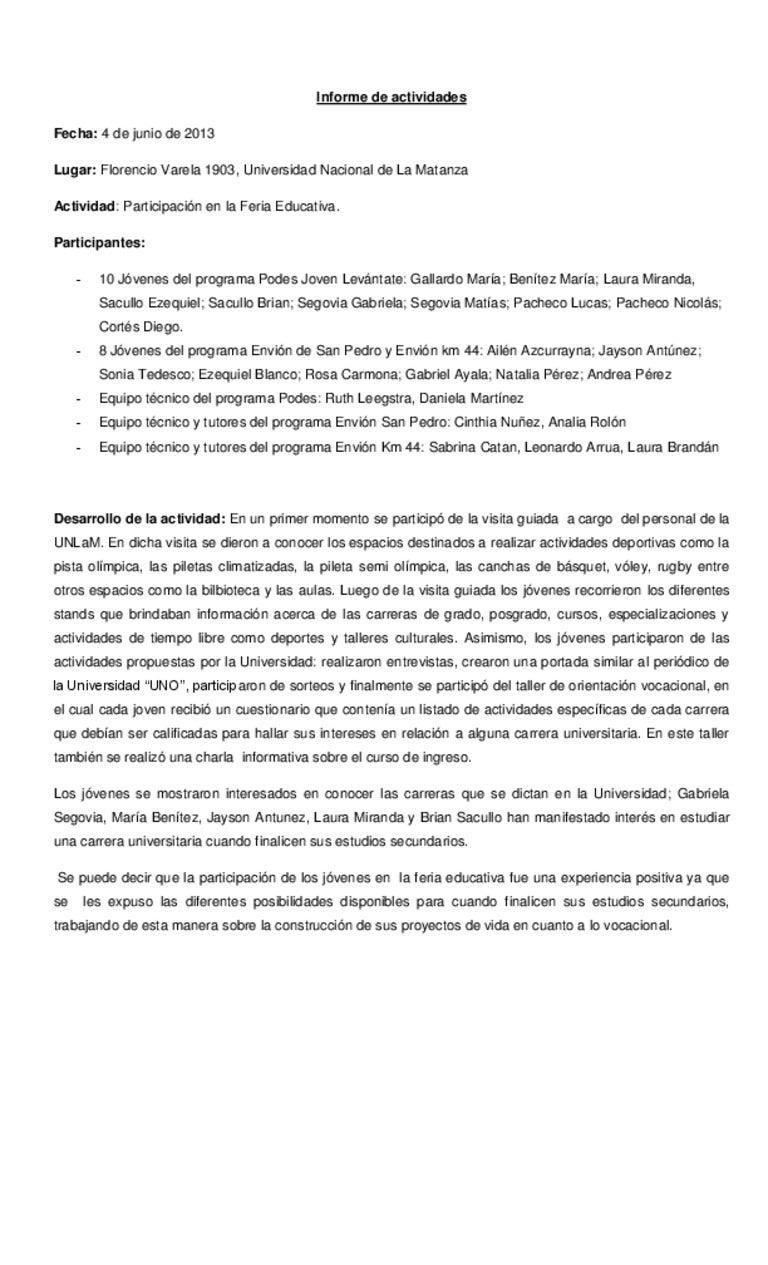 Fantástico Plantilla De Informe De Actividad Galería - Ejemplo De ...