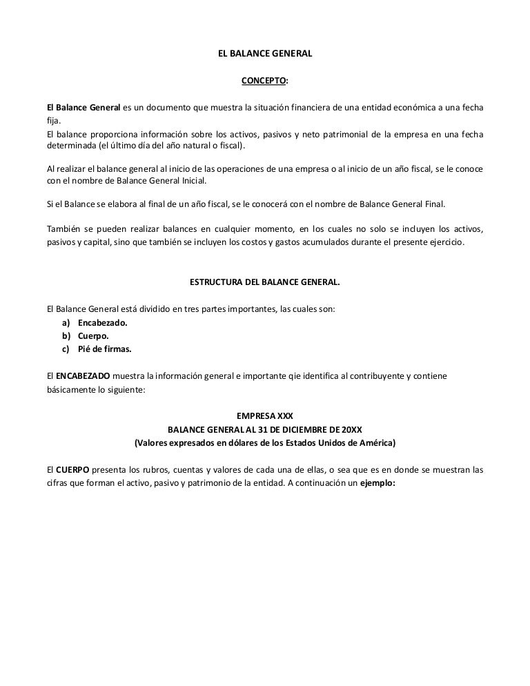 Informe De Balance General