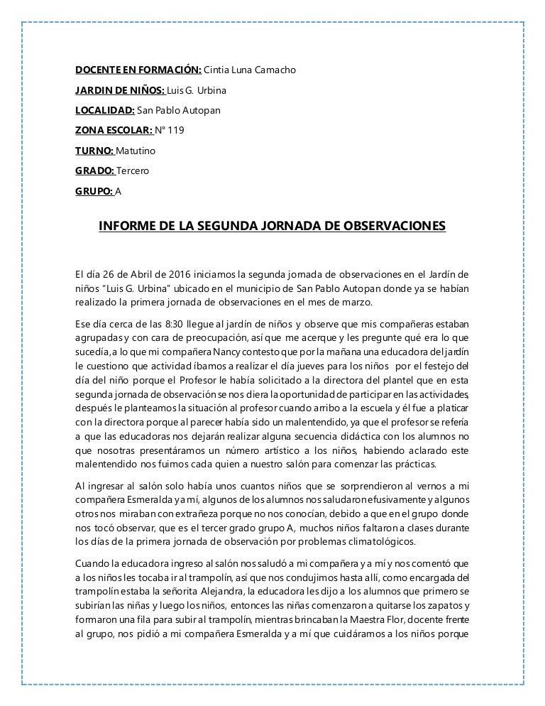 INFORME DE SEGUNDA JORNADA DE OBSERVACIONES EN EL JARDÍN DE NIÑOS \