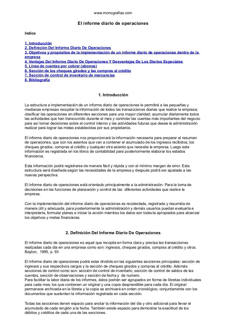 Informe diario de operaciones contabilidad