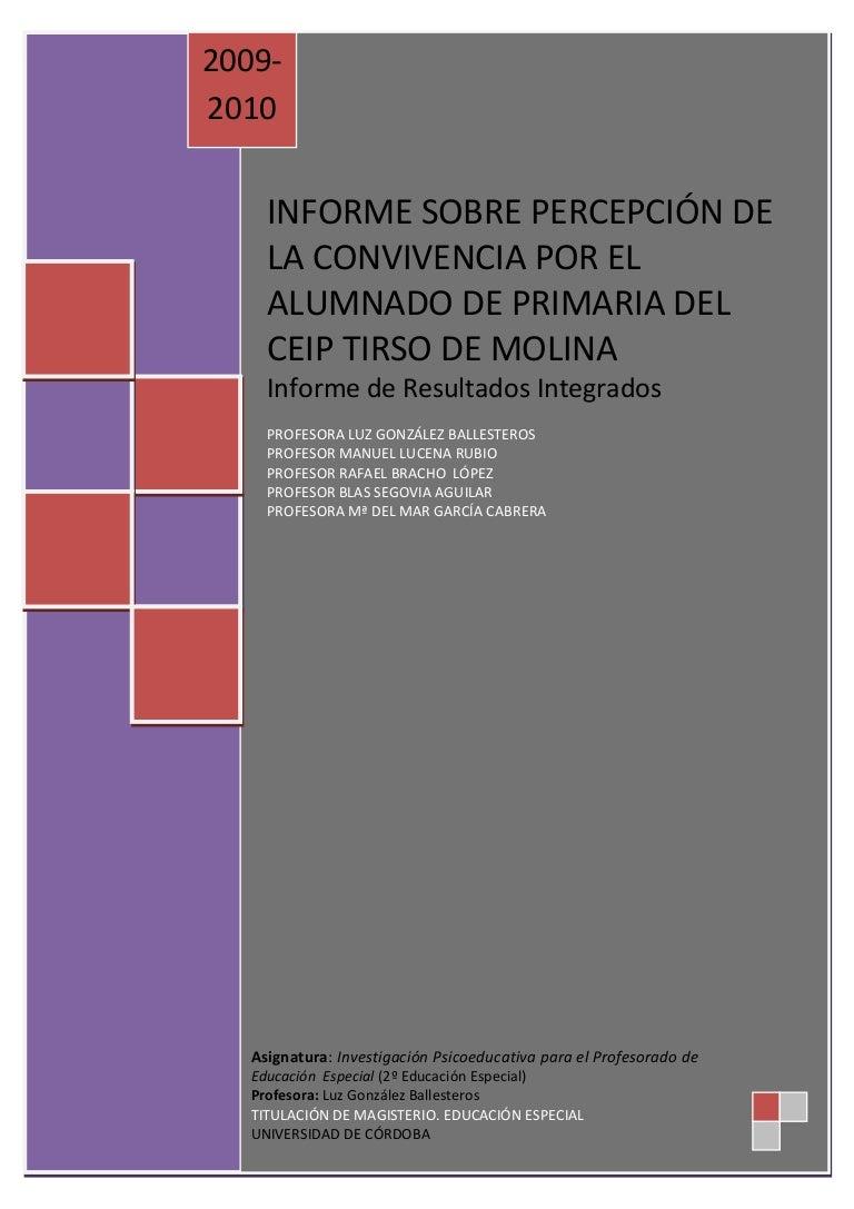 Informe Integrado Tirso De Molina 8 2 10