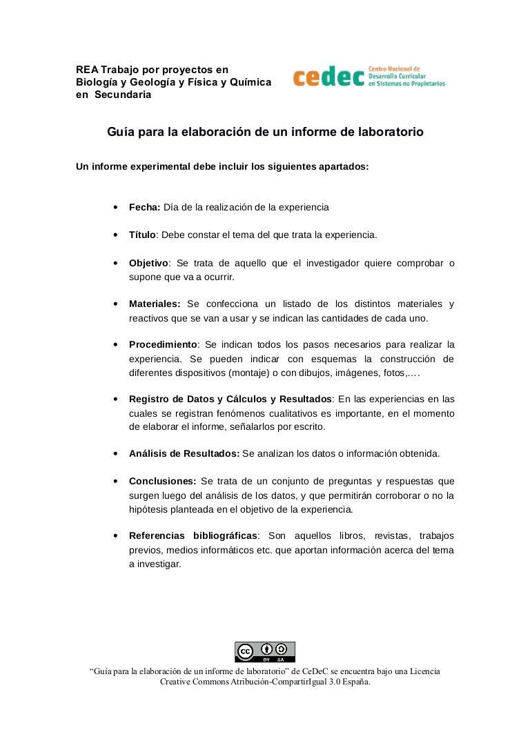 Guía para la elaboración de un informe de laboratorio