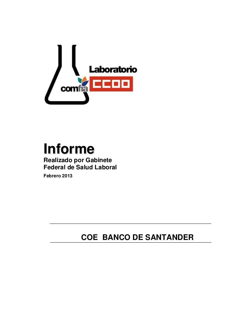 Informe laboratorio para CCOO Sección Sindical banco santander 2013