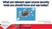 Infosecurity.be 2019: What are relevant open source security tools you should know and use today?