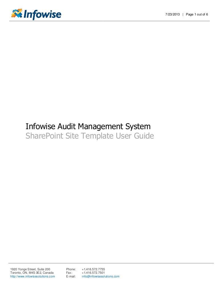 infowise audit management system solution user guide rh slideshare net Data Sheet Examples Data Spreadsheet Template