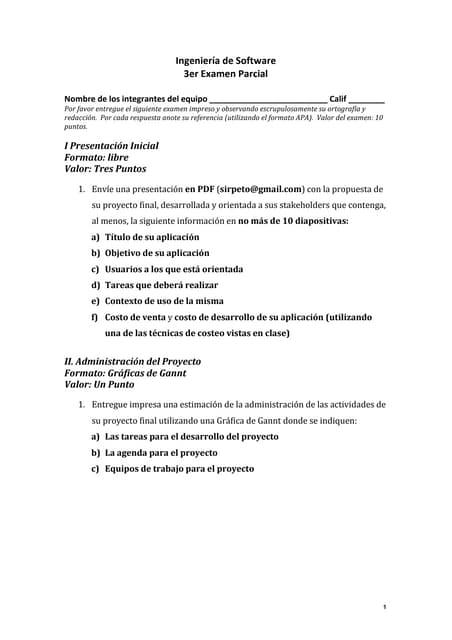 Ingeniería de Software (UTM) - Tercer Examen Parcial