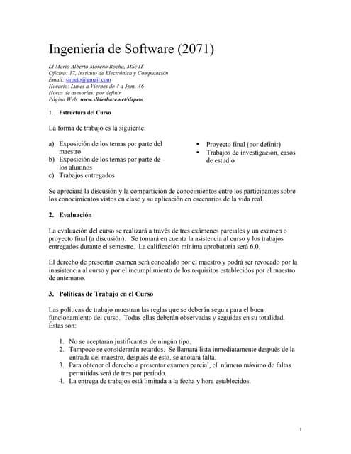 Presentación Ingeniería de Software (2071)