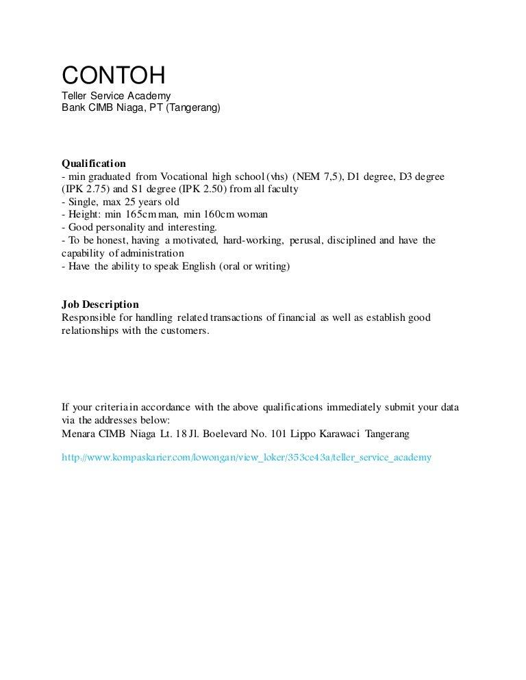 Contoh Application Letter Curriculum Vitae Bahasa Inggris Lamaran K