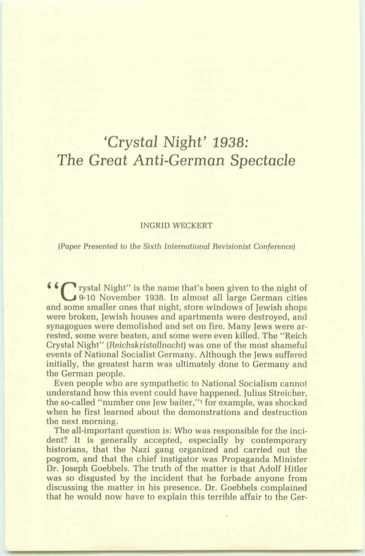 Ingrid weckert crystal night 1938 - the great anti-german