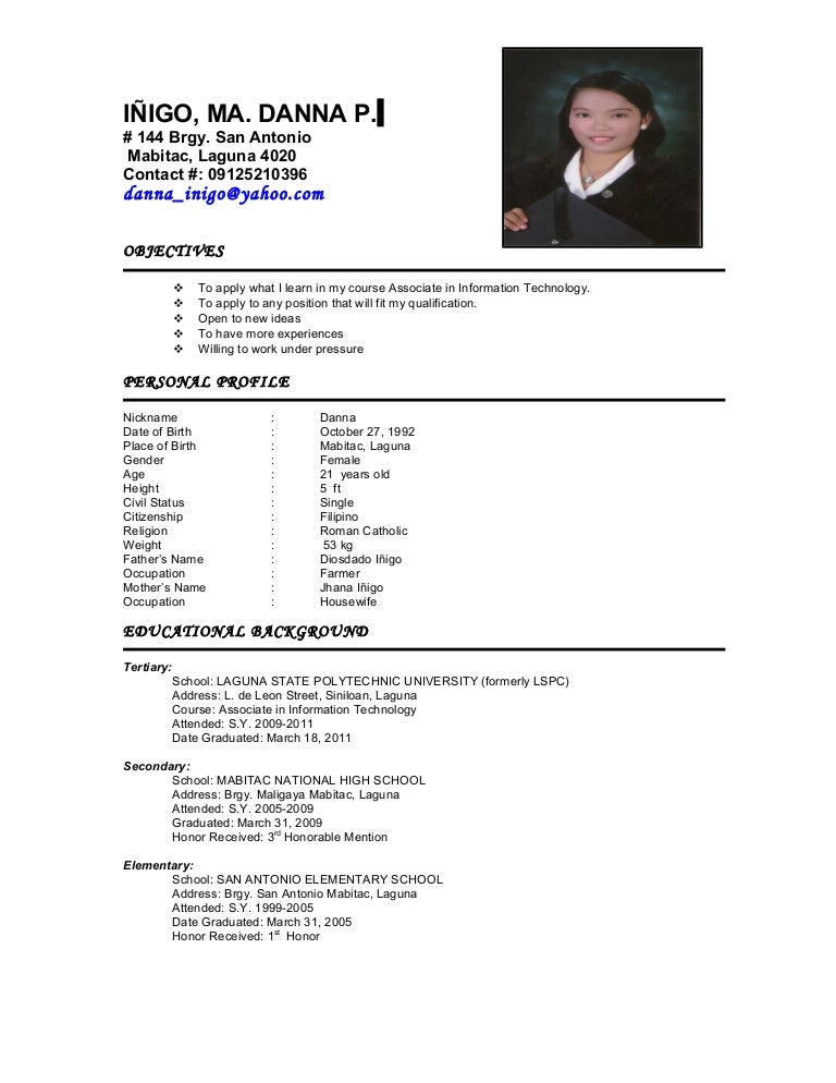 Example Of Resume For Fresh Graduate Information Technology – Housewife Resume Examples