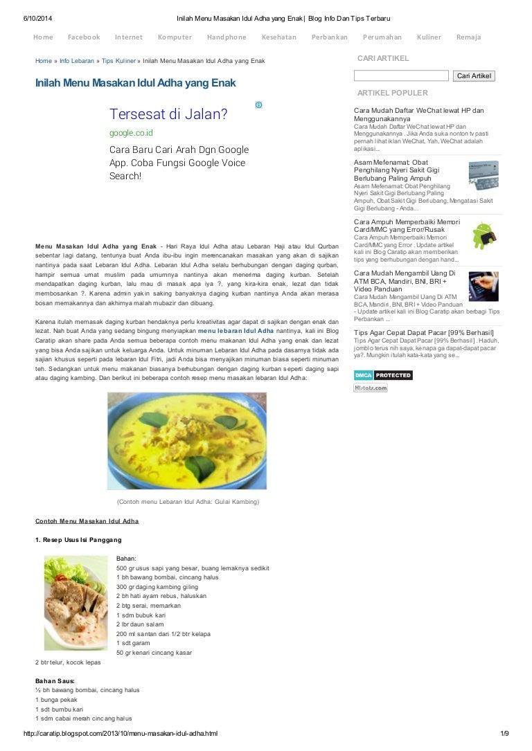 Inilah Menu Masakan Idul Adha Yang Enak Blog Info Dan Tips Terbaru