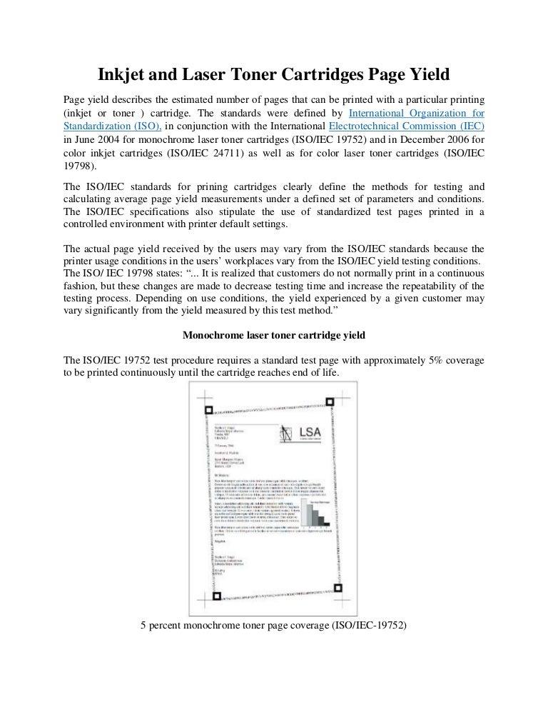 inkjet cartridges and laser toner cartridges page yield explained