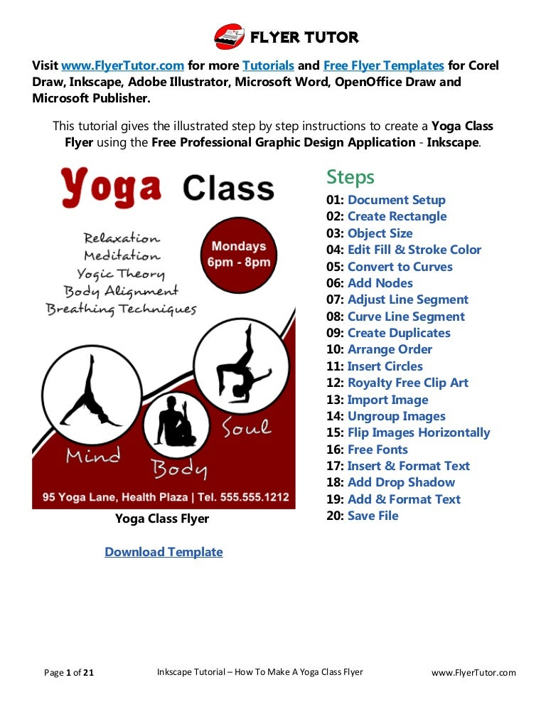 Inkscape Beginner Tutorial How To Make A Yoga Class Flyer