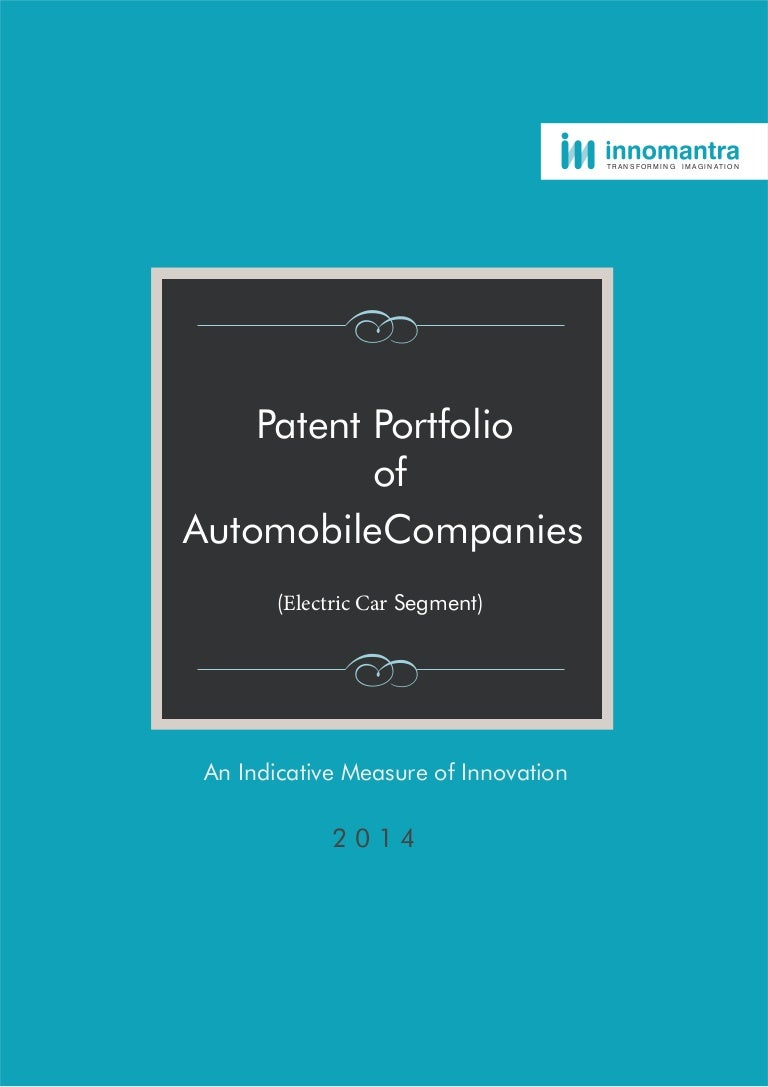 Innomantra - Patent Portfolio of Electric Cars - Report July 2015
